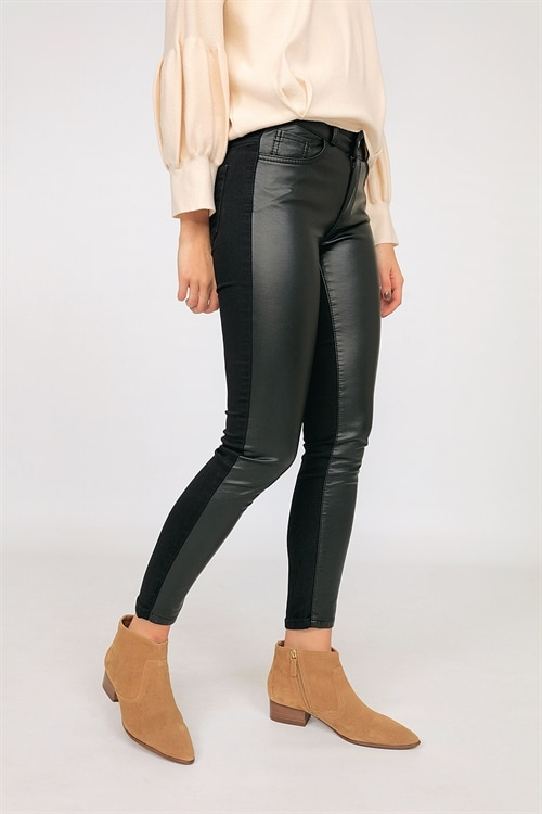new appearance super cheap compares to new cheap Half Faux Leather Pants
