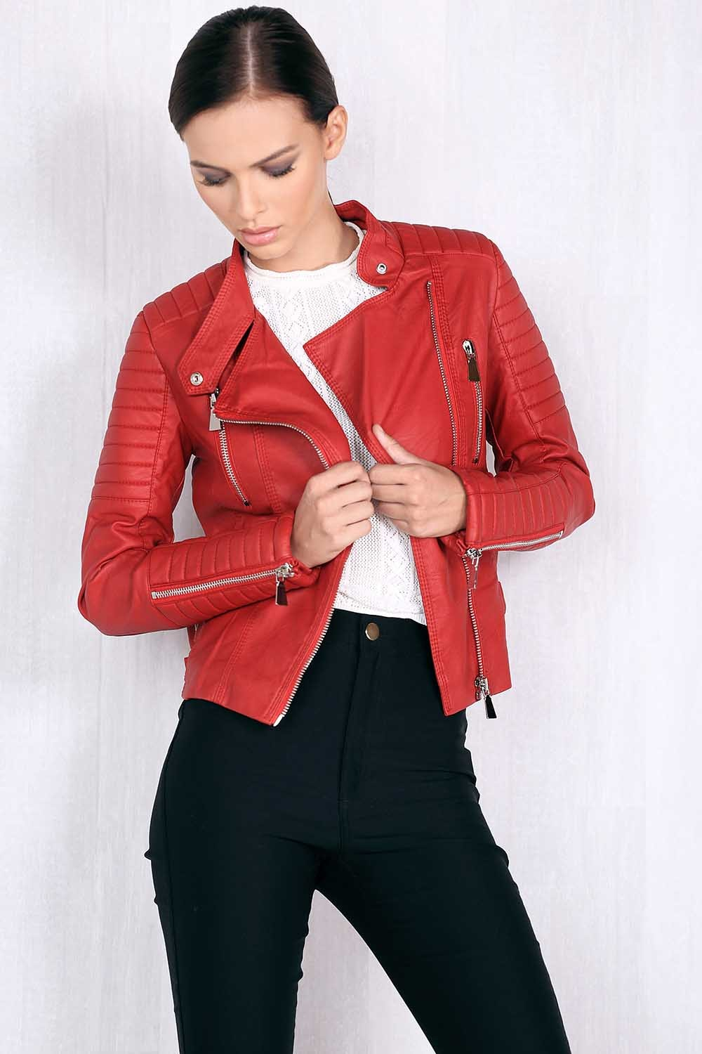 Collection Red Moto Jacket Pictures Best Fashion Trends